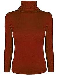 New para Mujer Camiseta de Manga Larga para Tortuga Polo Cuello Jersey Tops  Talla UK 8 0f263f25e51e