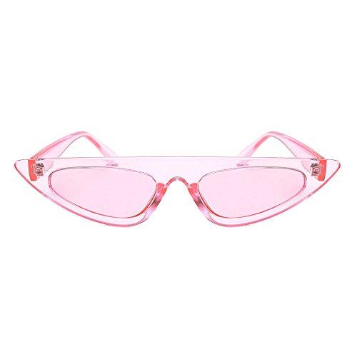 Damen Mode Cateye Sonnenbrillen Retro Kleiner Plastik Rahmen UV400 Brillen (#1 Rosa)