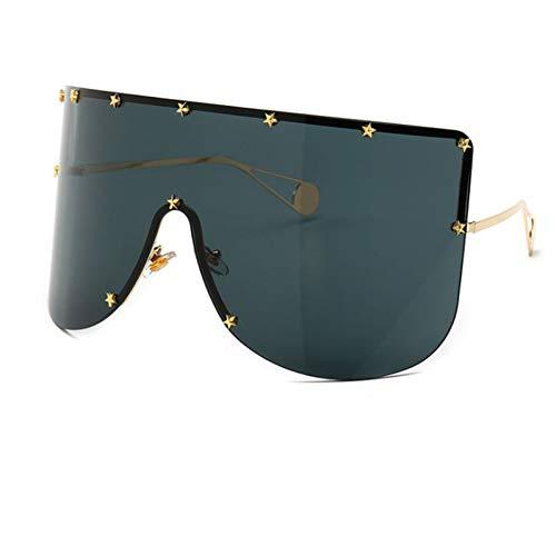 TJJQT Sonnenbrillen Übergroße Shield Sonnenbrille Damen Herren Randlos Metall Damen Sonnenbrille Shades Damen