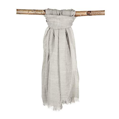 Japanwelt Damen und Herren Schal Frühling/Herbst Baumwolle und Wolle XXL einfarbiges Halstuch mit Fransen 100 x 180 cm Grau