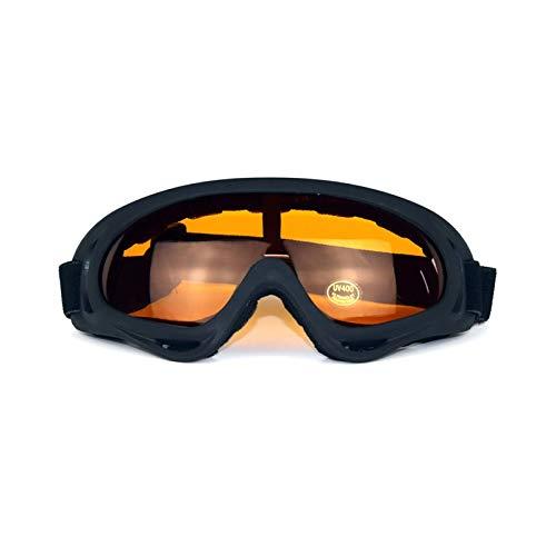 Epinki Herren TPU+PC Motorradbrillen Sandkontrolle Fahrradbrille Skibrille Schneebrille Snowboardbrille Helmbrillen für Skifahren Schneemobil Motorrad Fahrrad, Schwarz Orange