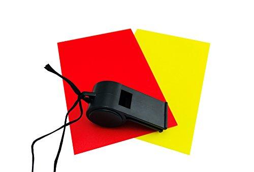 SimplyBestBuy 3-teiliges Schiedsrichter Set mit Triller Pfeife, Gelbe und Rote Karte, dreiteilig, Schiedsrichterkarten, für Fußball, Handball und weitere Sportarten