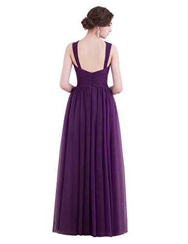 Dresstells Damen Tüll Ärmellos Trägerkleid Abendkleid lang Sommerkleid brautjungfernkleid Koralle