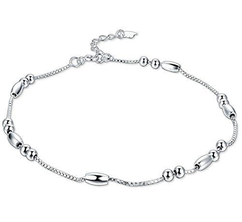 Beglie Damen Fußkettchen 925 Sterling Silber Ball Charm Knöchel Armband Silber Geschenk für Damen