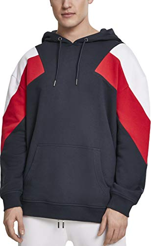 Urban Classics Herren Kapuzenpullover Oversize 3-Tone Hoody Mehrfarbig (Navy/White/Fire Red 01243) XXXXX-Large (Herstellergröße: 5XL) - White Classic Sweatshirt