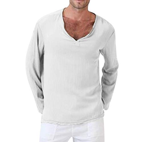 BaZhaHei Herren Sommer T-Shirt Baumwolle Leinen Thai Hippie Shirt V-Ausschnitt Strand Yoga Top Bluse Slim Fit Kurzarm Muscle Tops
