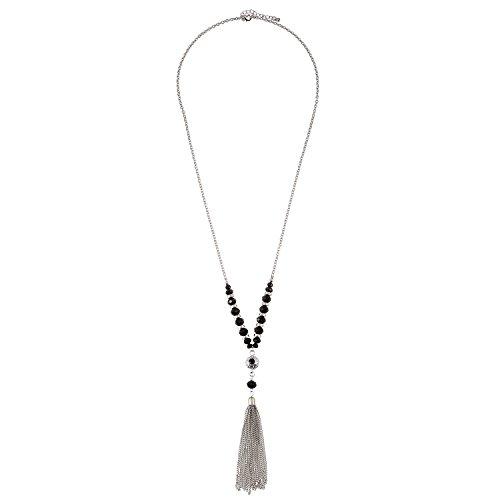nge Kette Perlen Quaste Halskette für Frauen Kostüm Schmuck-Schwarz (nl005484-4) (Vintage Kostüm Schmuck Etsy)