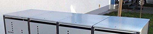 Metall Mülltonnenbox für 4 Tonnen RAL grau / anthrazit, Müllcontainer, Müllbox. Made in Germany. # Größe: Für 4 Tonnen bis 240 l # Farbe: Farbenauswahl per EMail angeben # Dach: Mit Klappdach # Stanzung: ST 3/5