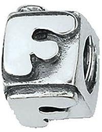 amore & baci .925 Letra de plata F Bead Charm