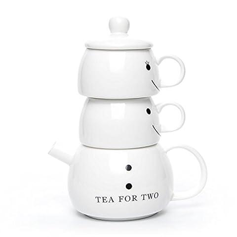 Hausmann & Söhne Tea for Two Tee-Set | 4-teiliges Teeservice mit Teekanne, Teetassen und Deckel | Schwarze Gesichter Smileys | Hochzeitsgeschenk Geschenk-Idee