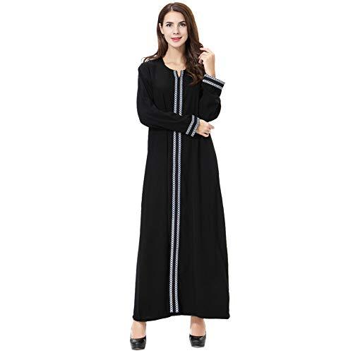 Meijunter Muslimische Kleider für Damen - Langarm Chiffon Robe Arabisch Dubai Kaftan Islamische Kleidung Abaya für Ramadan Grau ()
