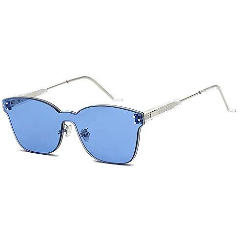 JFFFFWI Stilvolle Sonnenbrille für Frauen einteiliger Stil rahmenlose farbige Linse Niet Dekoration Sonnenbrille UV400 Schutz im Freien Fahren Reisen Sommer Strand UV-Schutz Sonnenbrille (Farbe: C7)