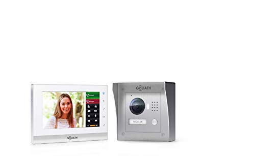 """GOLIATH IP 2 Draht Video Türsprechanlage, 1,3 Megapixel Kamera 150°, 7\"""" Touchscreen, Smartphone Handy App, Türöffner, Gegensprechanlage, Video-Sprechanlage, Aufputz Außenstation, Einfamilienhaus Set"""