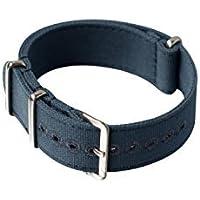 Cinturino Canvas Nato 21mm Khaki Blue Stitched holes