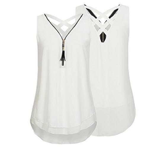 55391a110cd KEERADS Femme Camisole Été sans Manches V-Neck Couleur Pure Fermeture  éclair Grande Taille Vest
