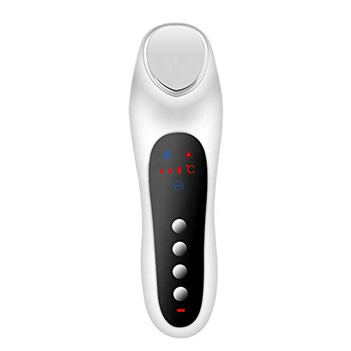 WWJJLL Gesichtsmassager, elektrische tragbare heiße und kalte Schönheit Instrument Home Gesichtsmassager mit LED Display Hautverjüngung Maschine,White -