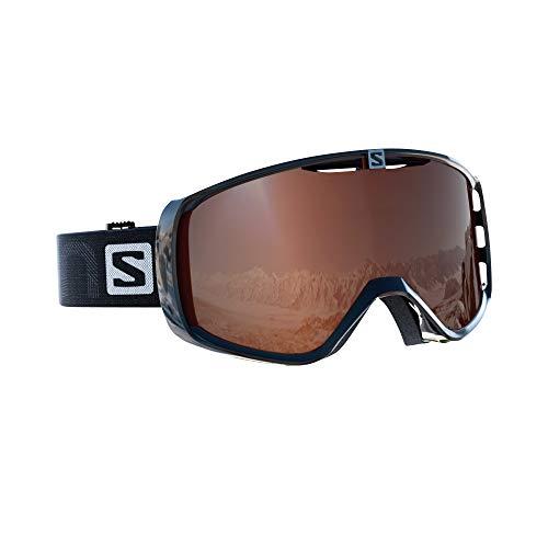 Salomon maschera da sci unisex, per portatori di occhiali, tempo variabile,visiera tonic orange con effetto flash, sistema airflow, aksium access, nero, l39084300