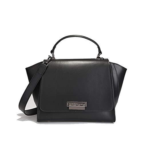 Kieuyhqk Damen Leder Handtaschen mit großer Kapazität Messenger Schultertasche Einfache EinkaufstascheDamen Casual Handtasche Schulter-Handtasche (Farbe : Schwarz)