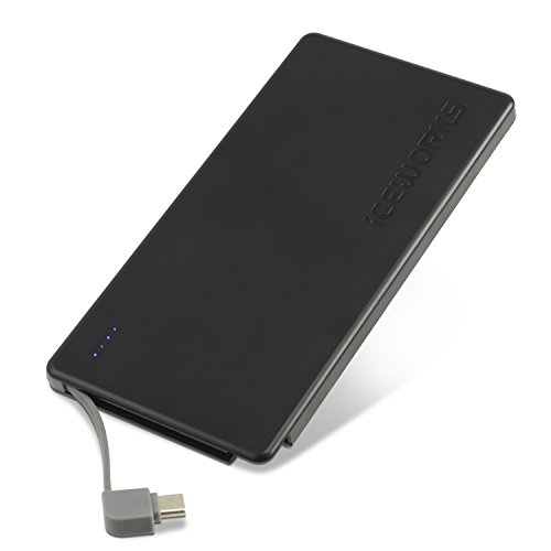 Iceworks 7000USB C Power Bank–Erbaut im Typ C Kabel tragbares Ladegerät–Schnell Laden, Ultra Slim Akku Tip. Inklusive usb-c Ladekabel