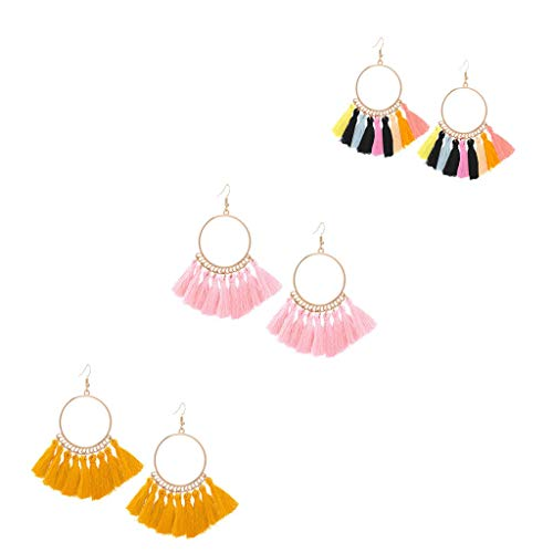 LILIGOD Böhmische Rattan Ohrringe Quaste Handgemachte Ohrringe Lange Quadratische Ohrringe Damen Schmuck Elegant Party Baumeln Ohrring Mode Wild Lange Ohrringe Ohrringe für Frauen