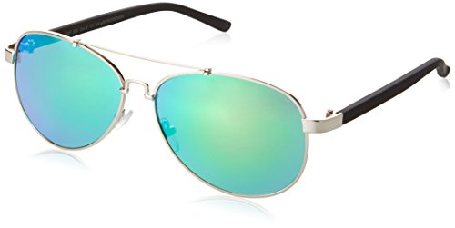 MSTRDS Unisex Sunglasses Mumbo Mirror Sonnenbrille, Silber (Silver/Green 4469), One Size