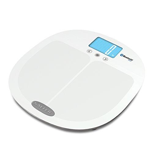Salter Curve Analysewaage, mit Bluetooth, Verbinden Sie Smartphone und Waage um Fortschritte zu tracken, Step-On, Körperfett, Wasseranteile, Muskelmasse, BMI, BMR