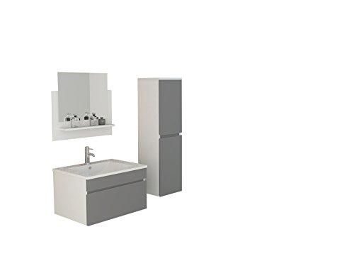 Badset Gastein in grau hochglanz Waschtisch Spiegelschrank mit LED Beleuchtung und Seitenschrank Badmöbel Ausstattung Bad Moebel