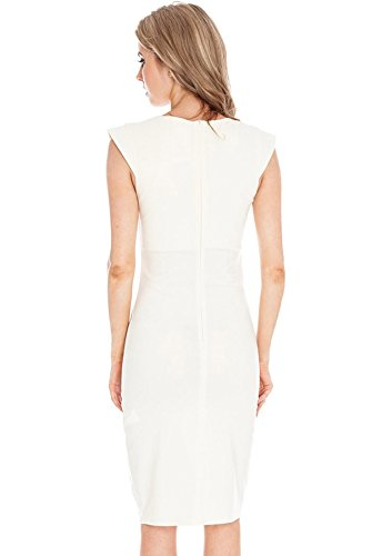 Balleay Femmes Vêtements de Travail Formel Carrière O-cou, Bodycon Entreprise Robe Crayon BA329554 Blanc