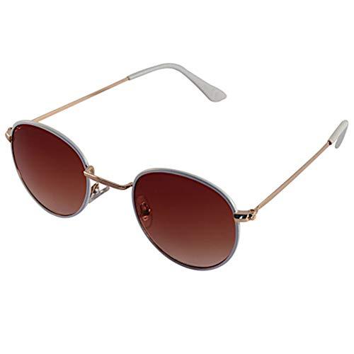 Chic-Net Sonnenbrille kleine Gläser Brille Metall bunt getönt 400 UV unisex Bügelkappen weiß