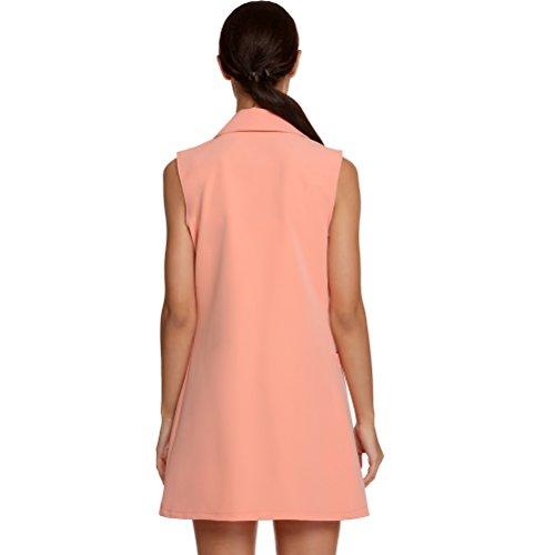 Laixing Buona Qualità Women's Fashion Maniche lunghe Vest Slim Fit Vogue Gilet Long Coats Vest Pink