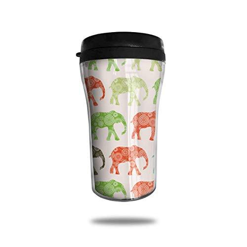 Tapa de la taza de café de la taza de café de los elefantes del viaje de los elefantes africanos para la bebida del hielo y la bebida caliente reutilizable, 8 onzas