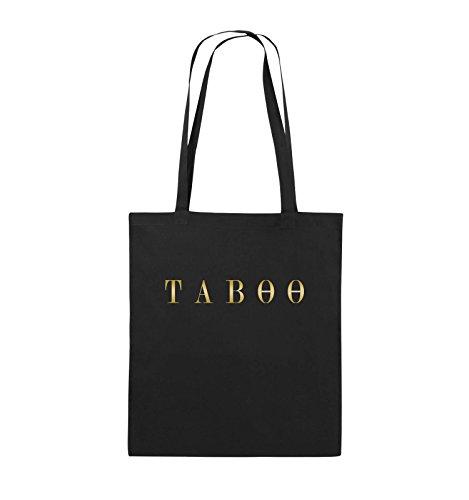 Borse Comedy - Taboo - Logo - Borsa In Juta - Manico Lungo - 38x42cm - Colore: Nero / Rosa Nero / Oro