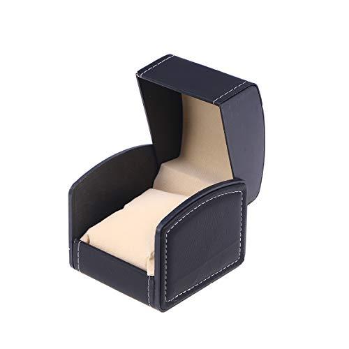 nicerio cuoio bracciale piazza vigilanza del regalo jewelry box contenitore di vigilanza monili di cuoio box organizer (nero)