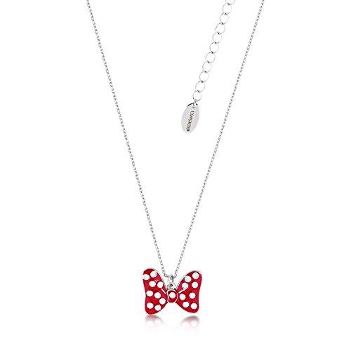 Disney Couture Minnie Mouse rocas esmalte rojo lunares lazo collar