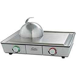 Solis Tischgrill, Edelstahl-Grillplatte, Teppanyaki-Glocke, Zwei Heizzonen, Grillen und Dünsten, Teppanyaki at Home Grill