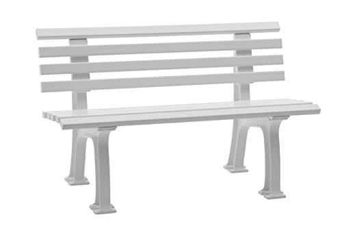 Sitzbank / Gartenbank 2er Design: Ibiza, Länge 120cm, Weiß (hochwertiger  Kunststoff,