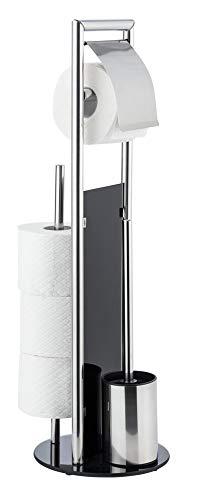 WENKO WC-Garnitur Ravina Edelstahl glänzend mit Toilettenbürste, Bodenplatte Glas, Ø 20x70cm, Silber