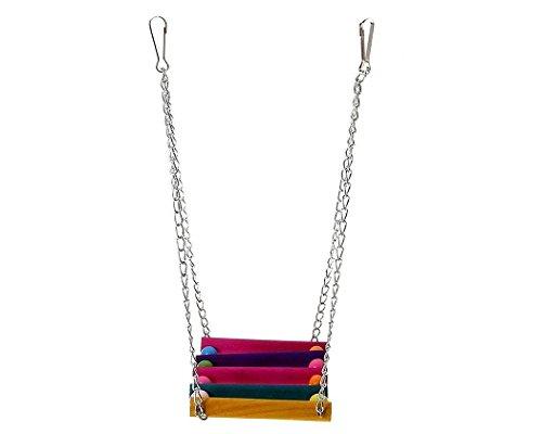 DSstyles Colorful Bird Ladder Wooden Bird Swing Hanging Toys Birdcage Hammock for Pet Bird Parrot Parakeet Budgie… 3