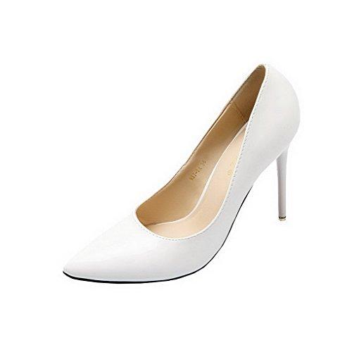 Evedaily Femme Escarpins Vernis Bout Pointu PU Cuir Sexy Talon Haut Aiguille Chaussures de Soiree Mariage Blanc