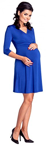 Zeta Ville - Maternité Robe grossesse soyeux manches 3/4 col en V - femme - 946c Bleu Royal