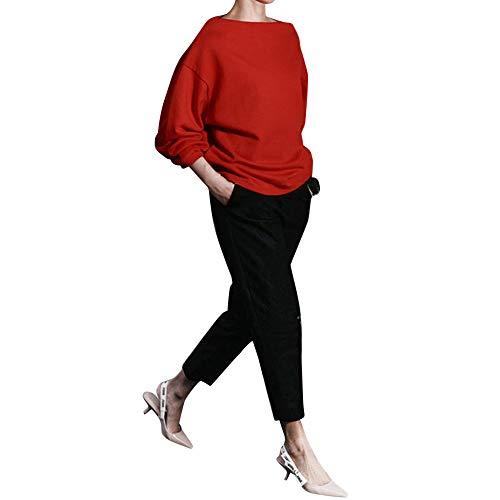 MAYOGO Einfarbig Locker Blusen für Frauen, Tshirt Damen Langarm Lose Rundhals Oberteile Tops Streetwear für Frühling Herst Winter,Weiß/Khaki/Marine/Red/Beige