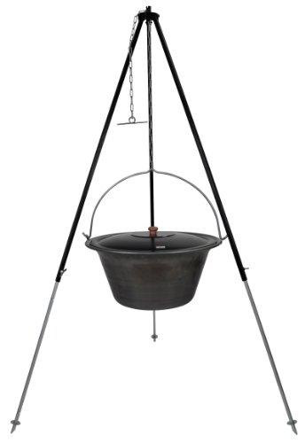 Grillplanet Gulaschkessel Eisen 30 Liter inkl. Deckel und Dreibein mit Kettenhöhenverstellung