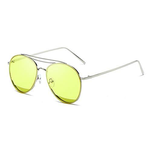 Easy Go Shopping Classic Aviator Mirrored Flat Lens Sonnenbrille Metallrahmen mit Federscharnieren Metallrahmen Sonnenbrille Sonnenbrillen und Flacher Spiegel (Color : Gelb, Size : Kostenlos)