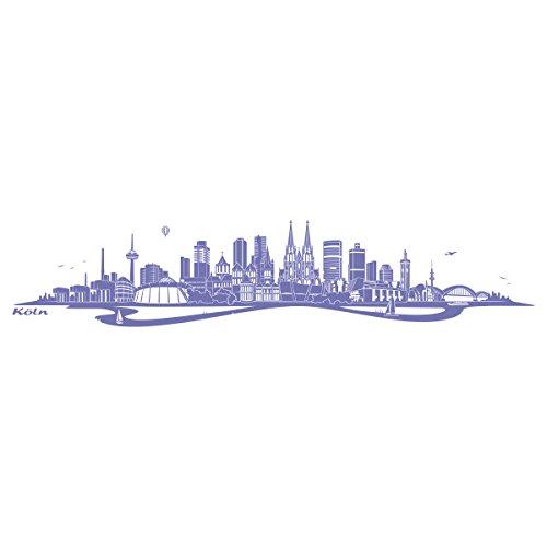 Lavendel Köln (WANDKINGS Wandtattoo Skyline Köln mit Fluss 120 x 25 cm - Lavendel - 35 Farben zur Wahl)