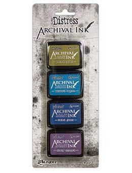 Ranger Distress Archival Mini-Tinten-Set für 2 Stifte, Farbe Meerjungfrau, Lagune, verblasste Jeans/Dusty Concord, verschiedene Farben, 4 Stück -