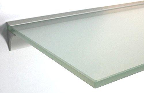 Glasregal 50x20 cm /8mm satiniertes Glas Wandprofil LINO8 Alu silber / Glasablage (Silber Wand-regal)