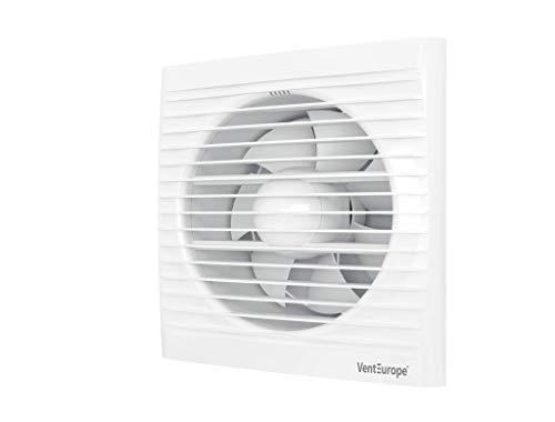 VENTEUROPE 150 mm ventola estrazione ventilazione standart + Valvola di non Ritorno Aria, 290 m³ / h, 16W , silenzioso per bagno wc cucina buro a basso consumo energetico, Garanzia 5 ANNI.