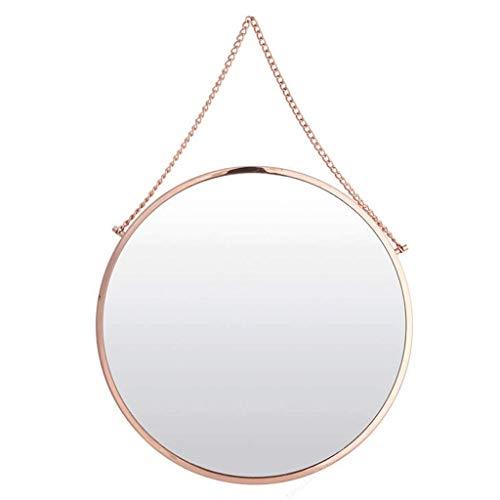 XHCP 10 '-30' große Moderne Rose Gold Metal Circle Frame mit Kette Wand hängenden Spiegel - zeitgenössische Premium schwimmende Runde Glasscheibe - Eitelkeit, Schlafzimmer oder Badezimmer