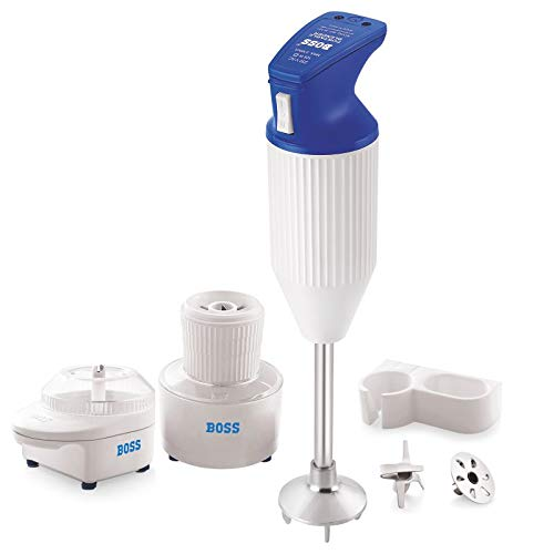 Boss E113 200-Watt Hand Blender with Chutney and Chopper (Blue-White)