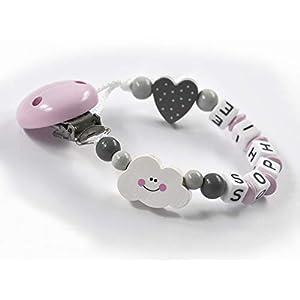 Schnullerkette mit Namen Mädchen Wolke Herz - rosa grau weiß - Baby - Holz - Silikonring